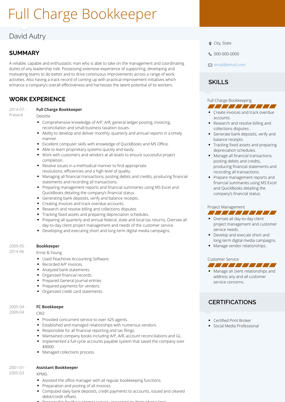 free bookkeeping resume samples