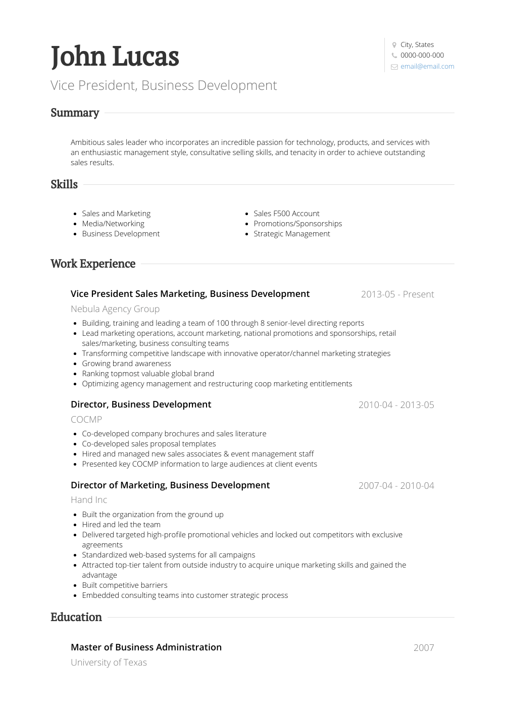 business resume strengths