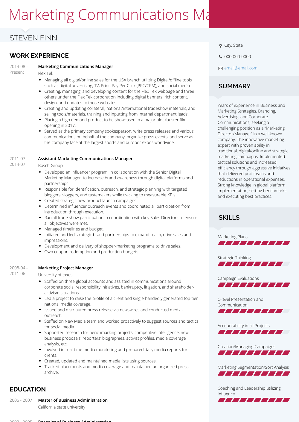 communications manager cv example