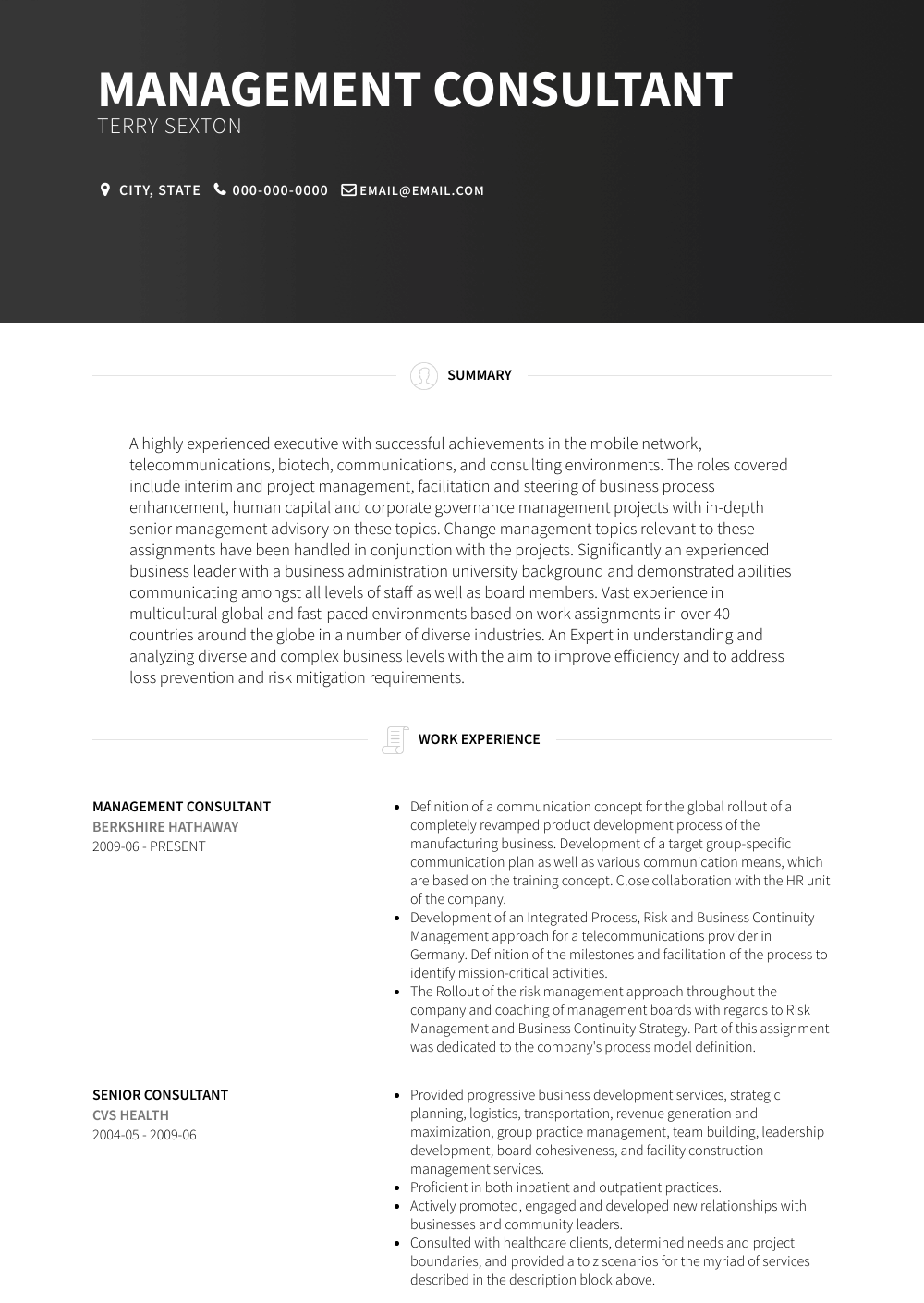 resume examples management consulting