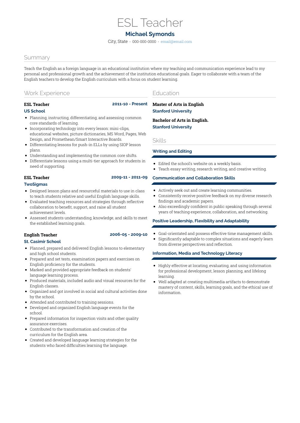 esl instructor resume examples