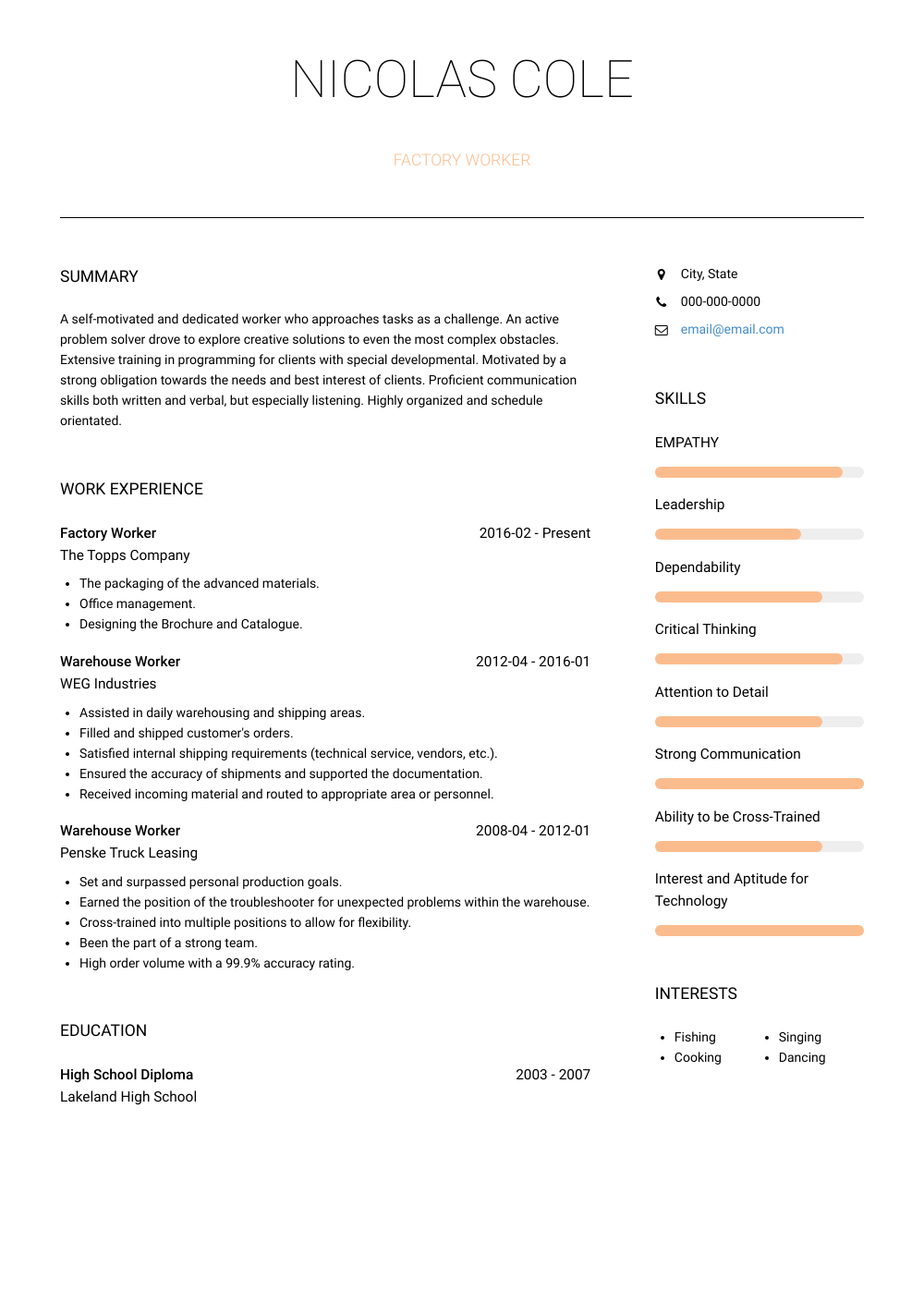 resume skills for factory worker