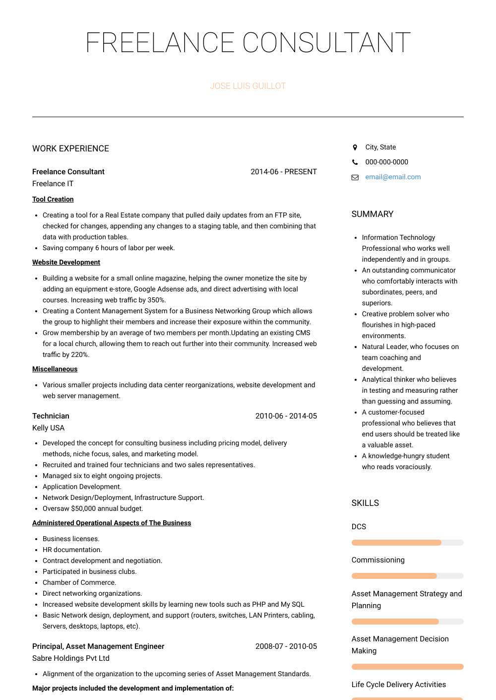freelancer cv example