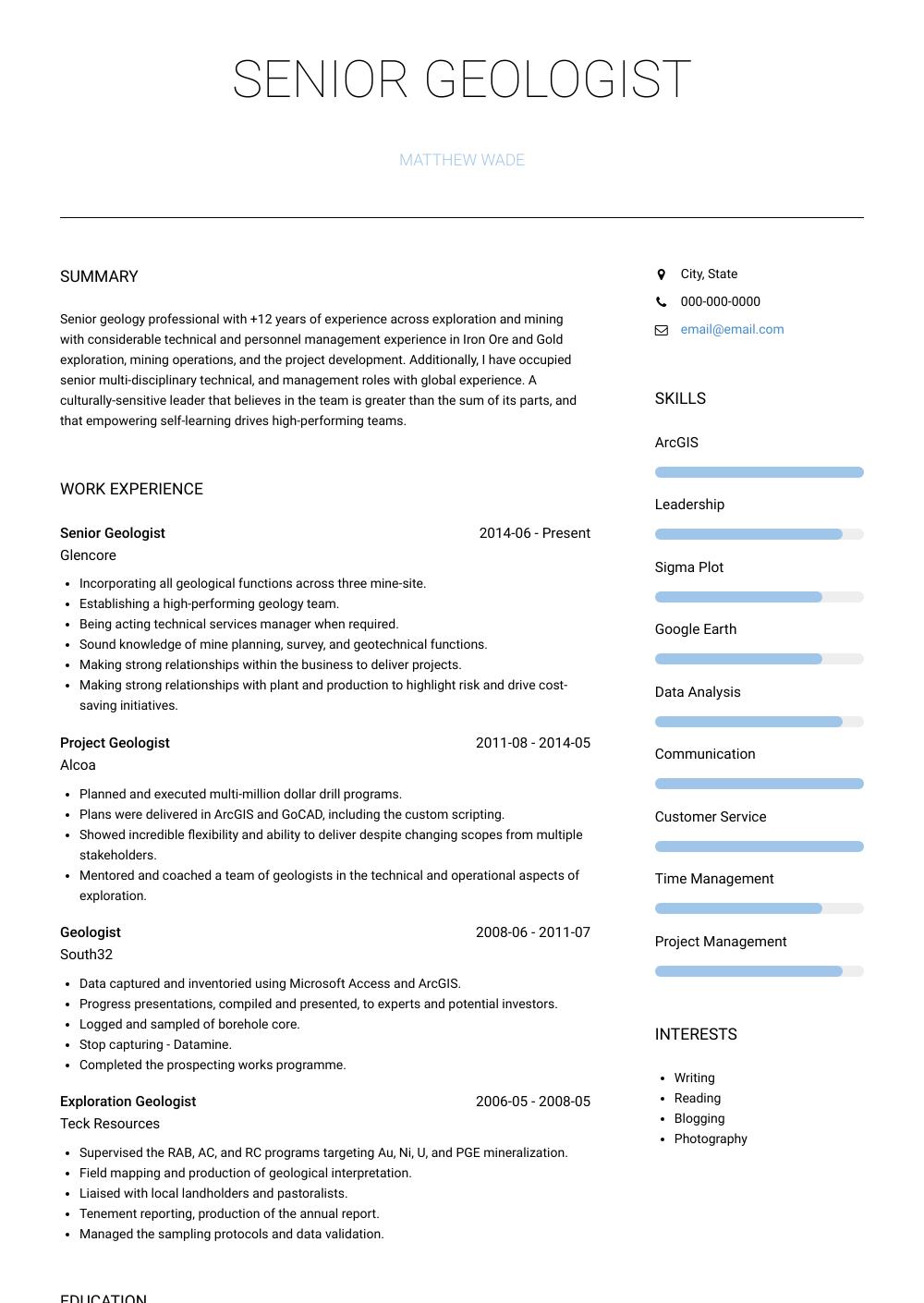 geologist resume samples