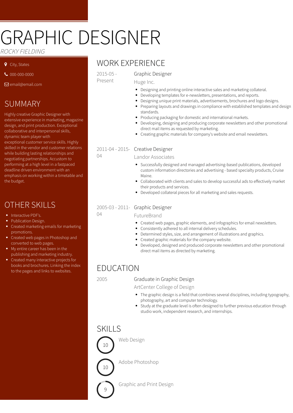 graphic and production resume examples