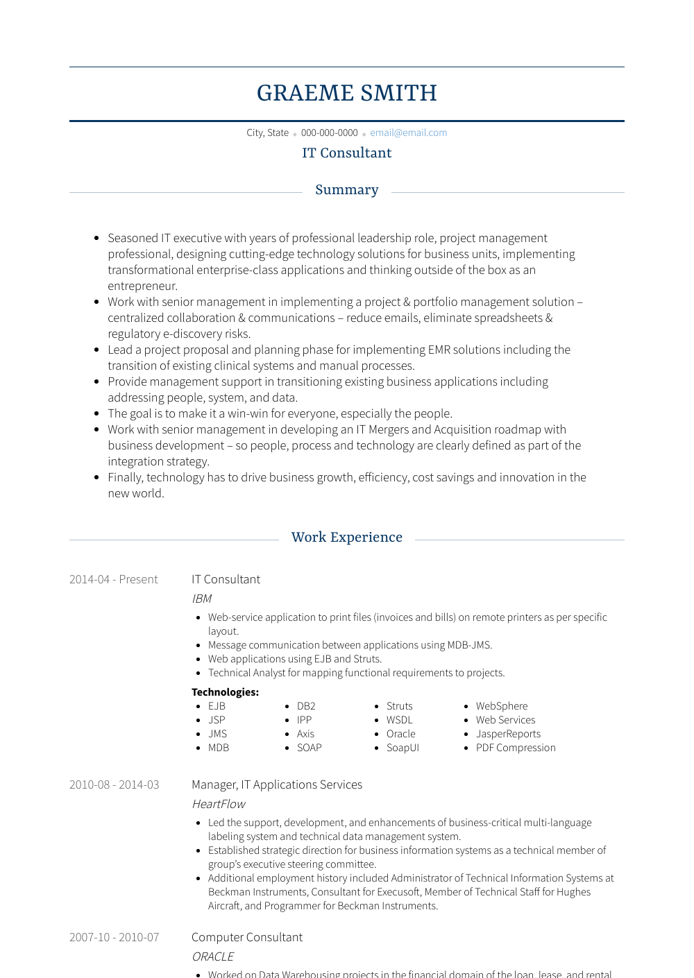 template cv consultant info