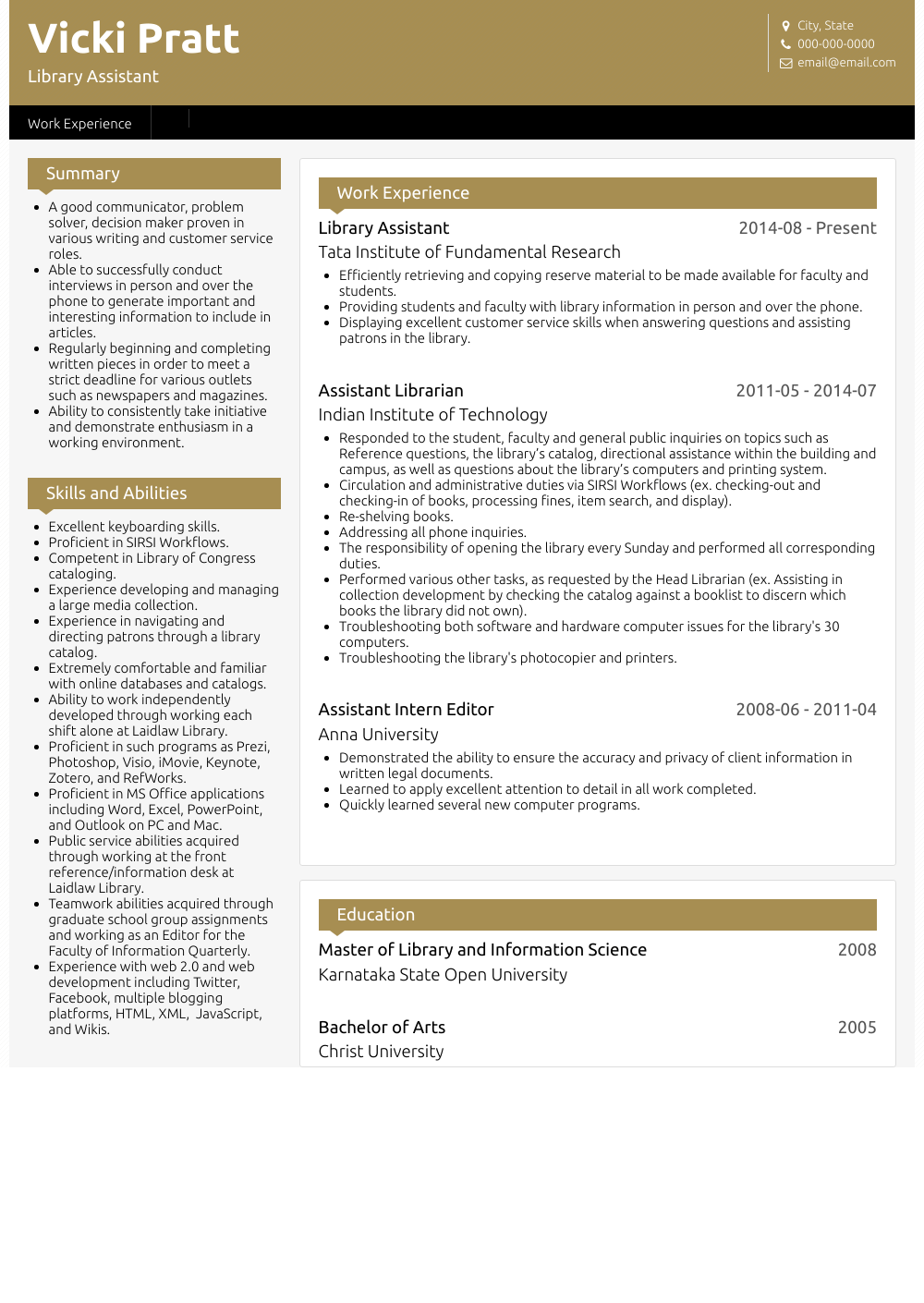standard cv form
