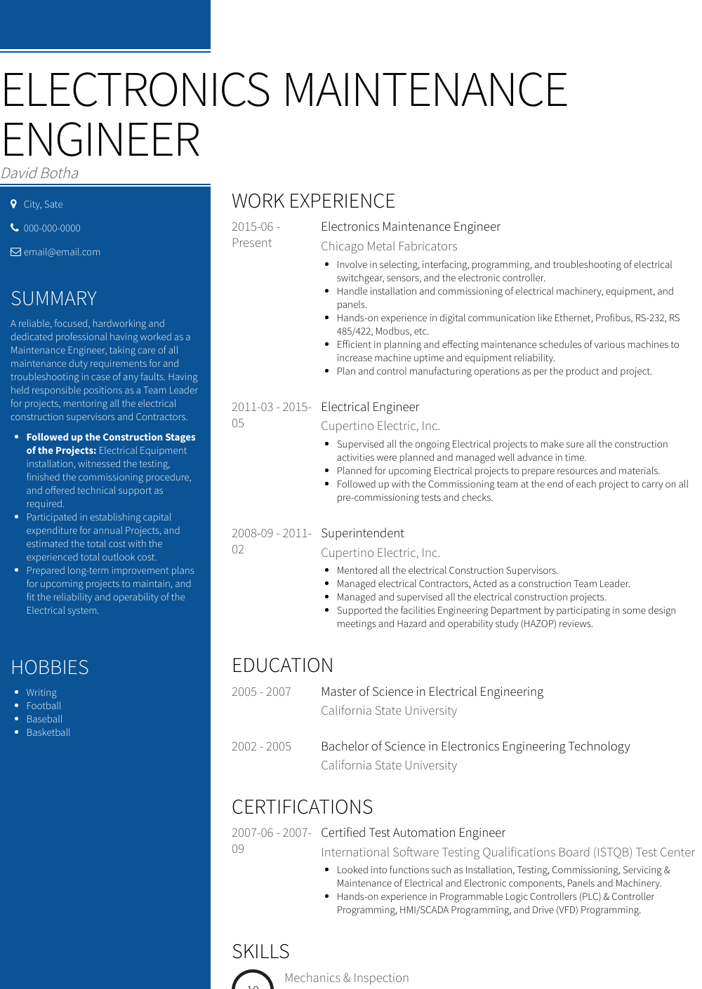 international resume samples for engineer