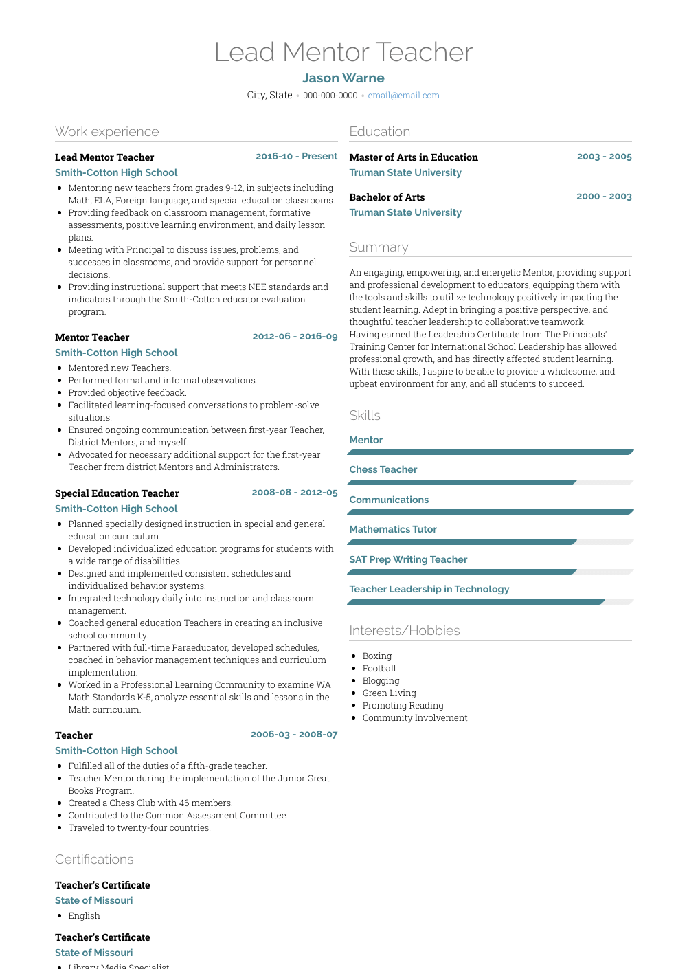 resume mentorship examples