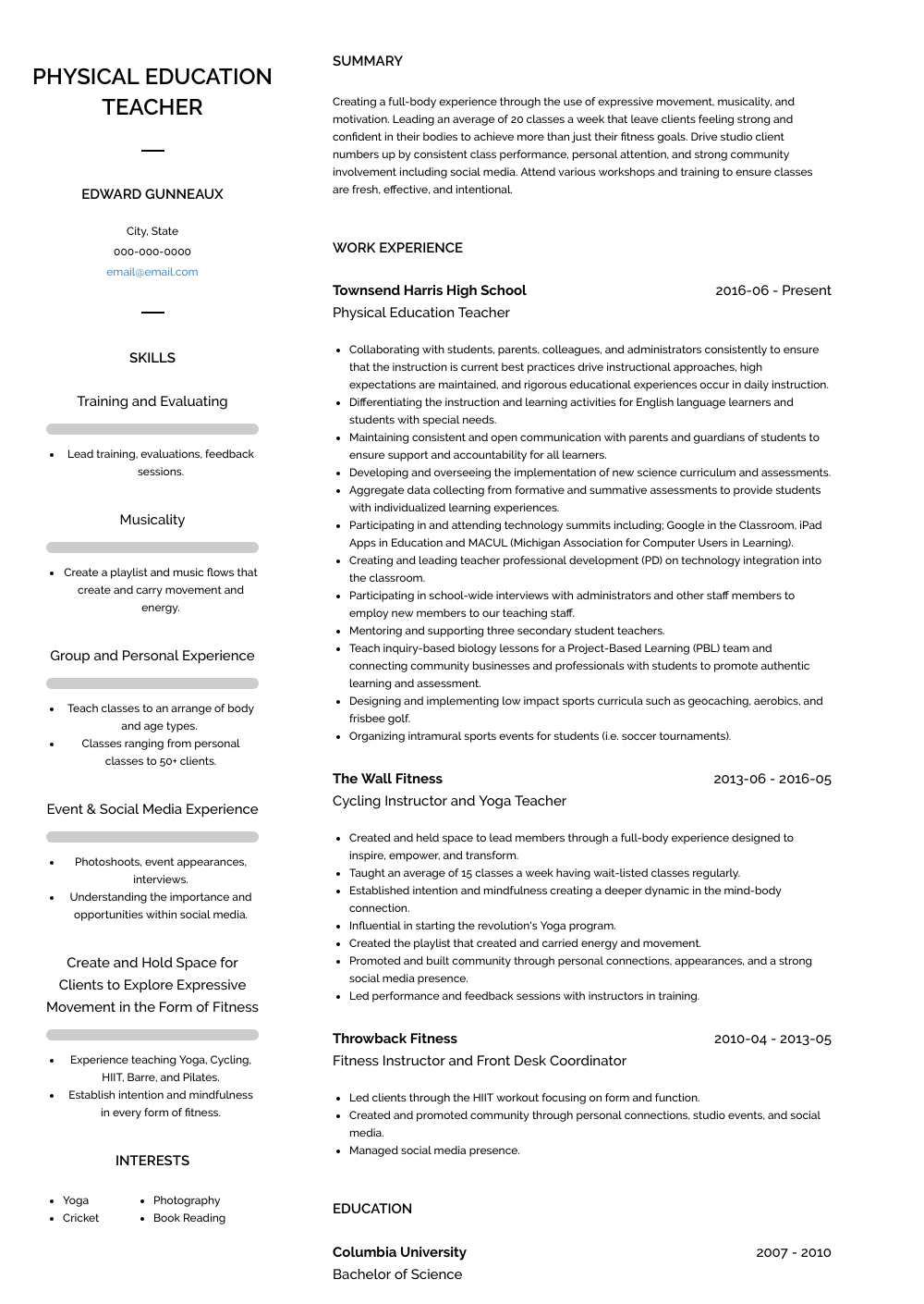 physical education teacher resume objective examples