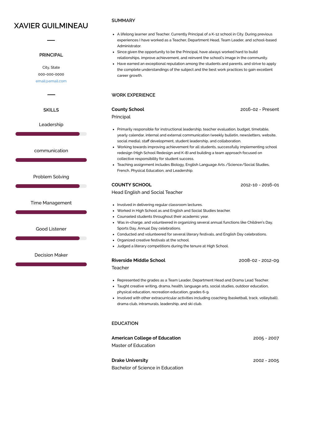resume examples leadership