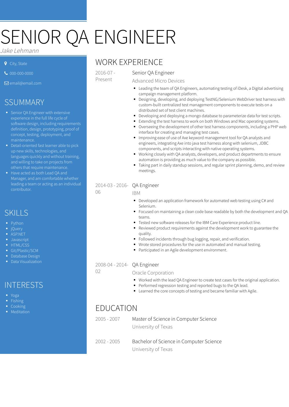 resume summary example engineer