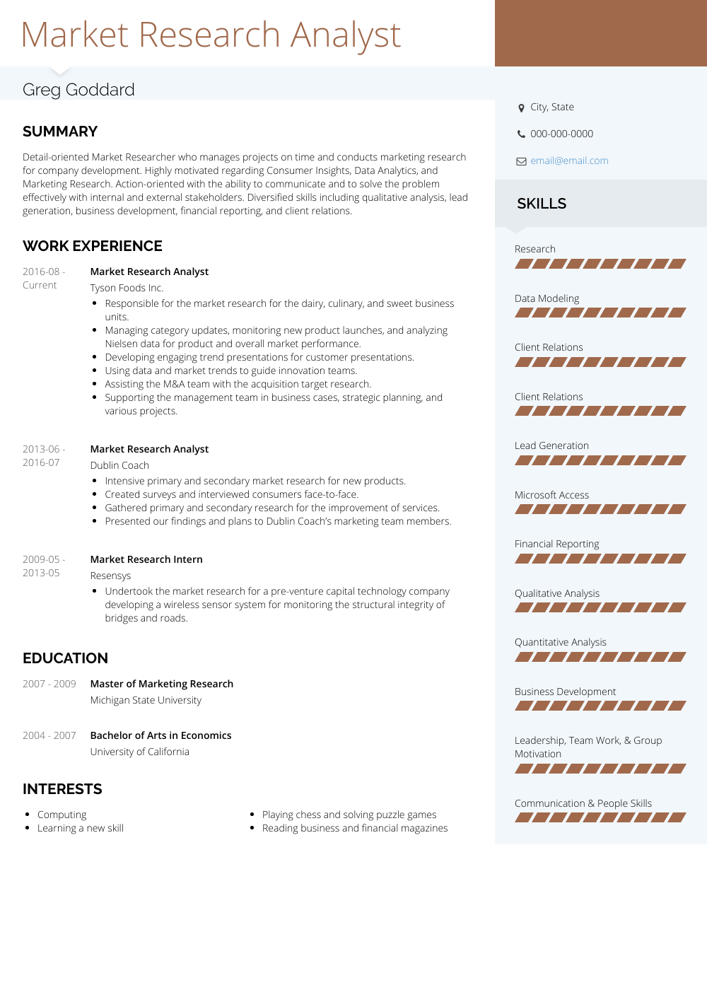 senior analyst resume example