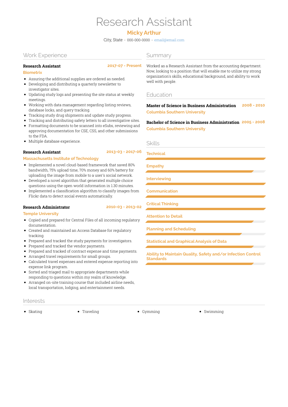 resume template research assistant