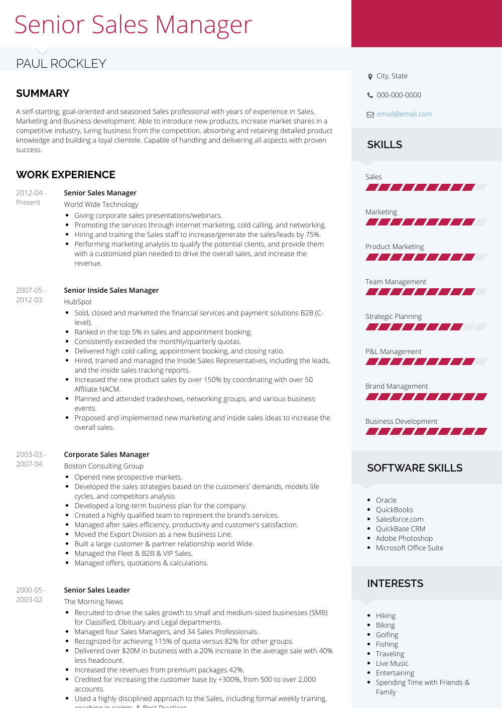 resume for sales manager template