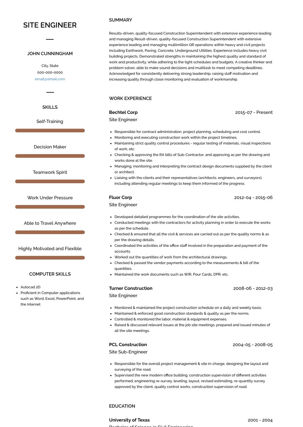 building engineer resume sample