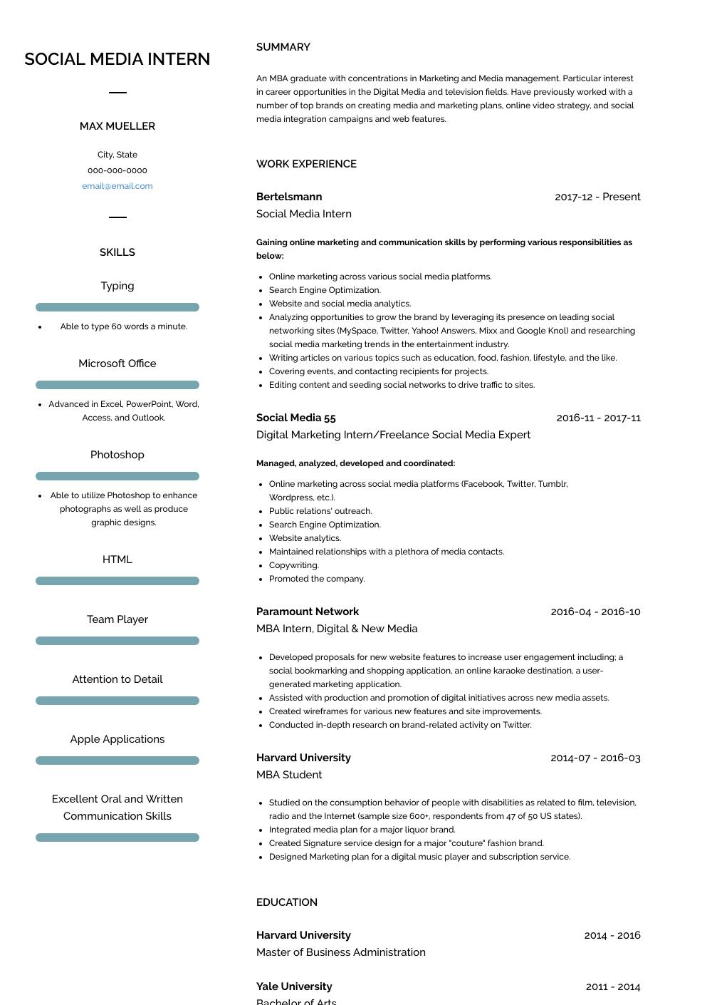 media intern resume