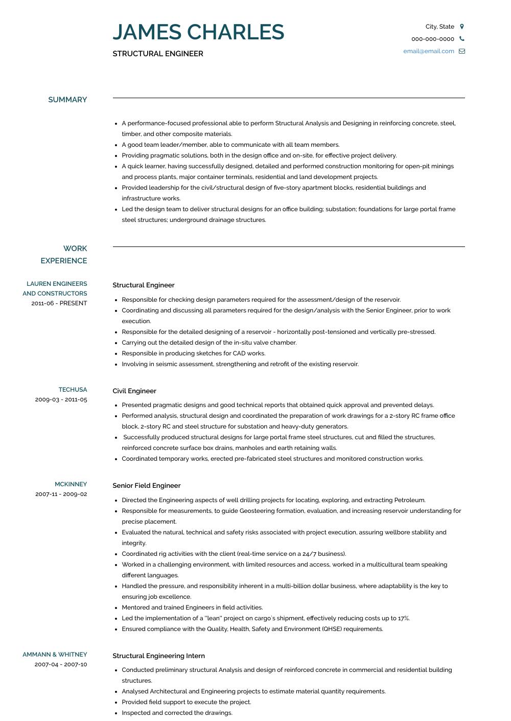 cv profile examples internship