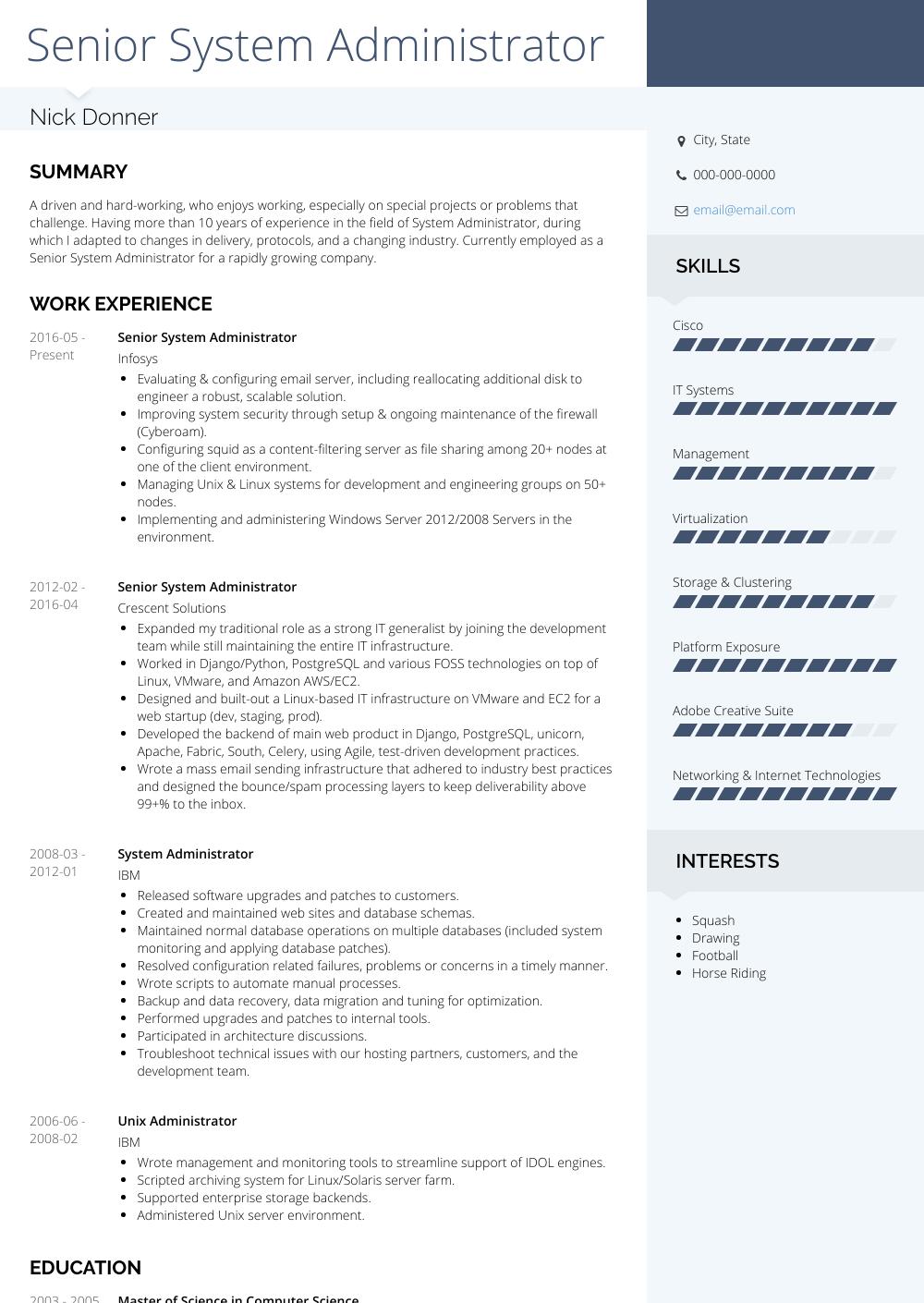 senior system administrator resume template