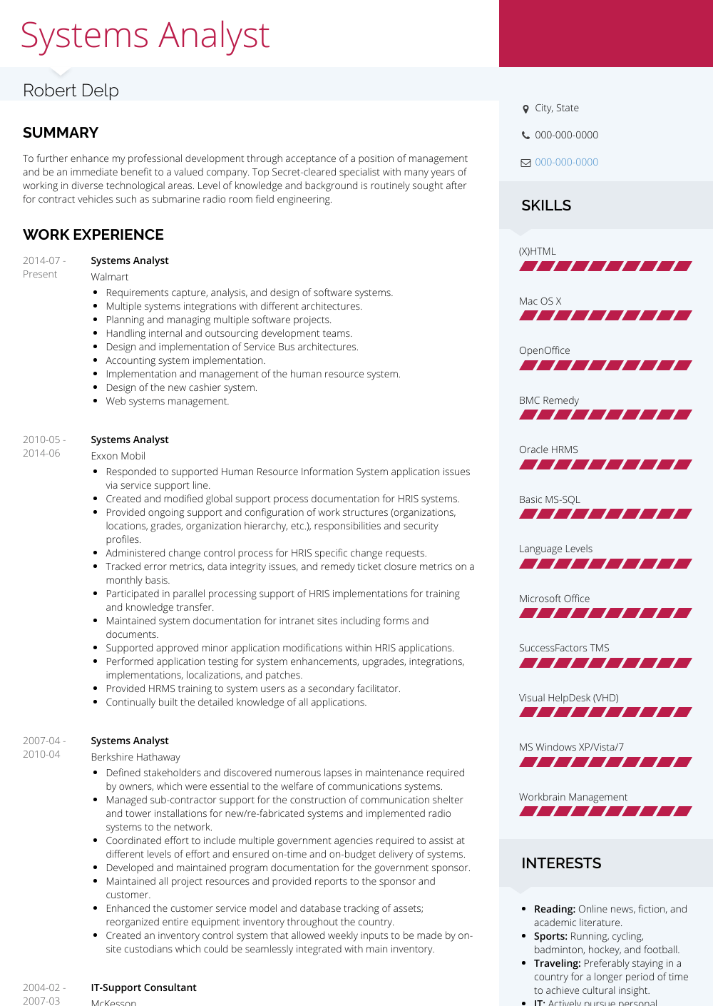 resume for information system analyst