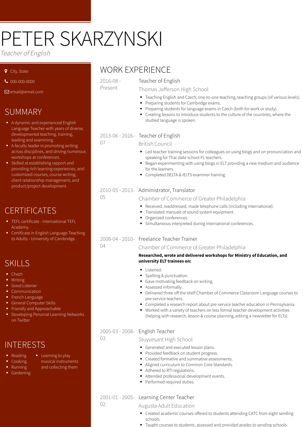 cv english experience from to today