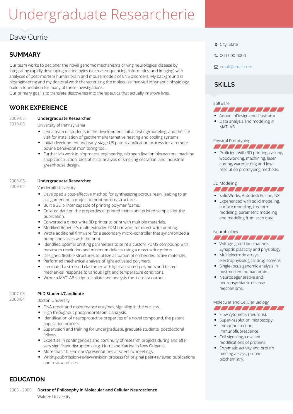 resume samples undergraduate