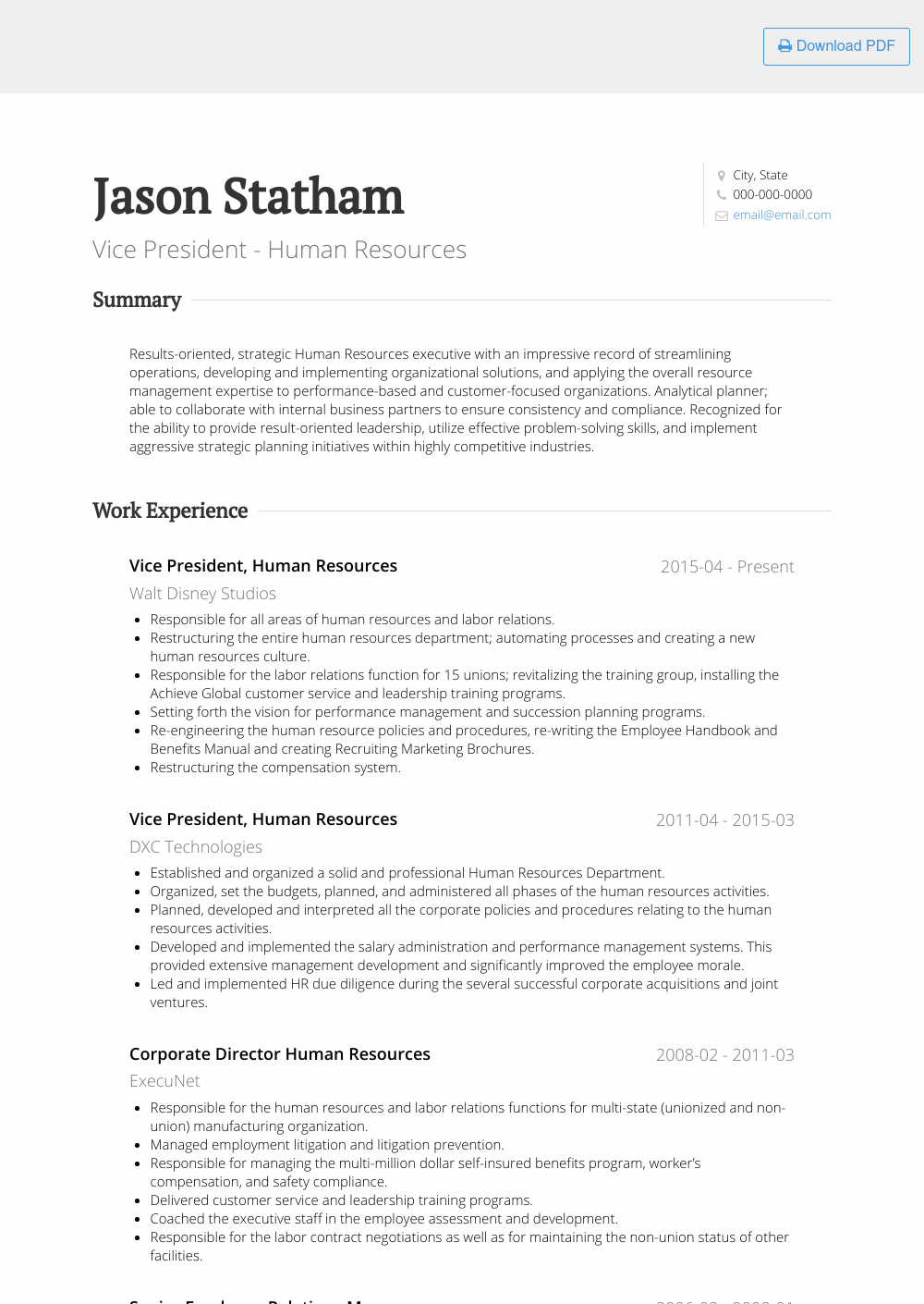 samples marketing executives resume