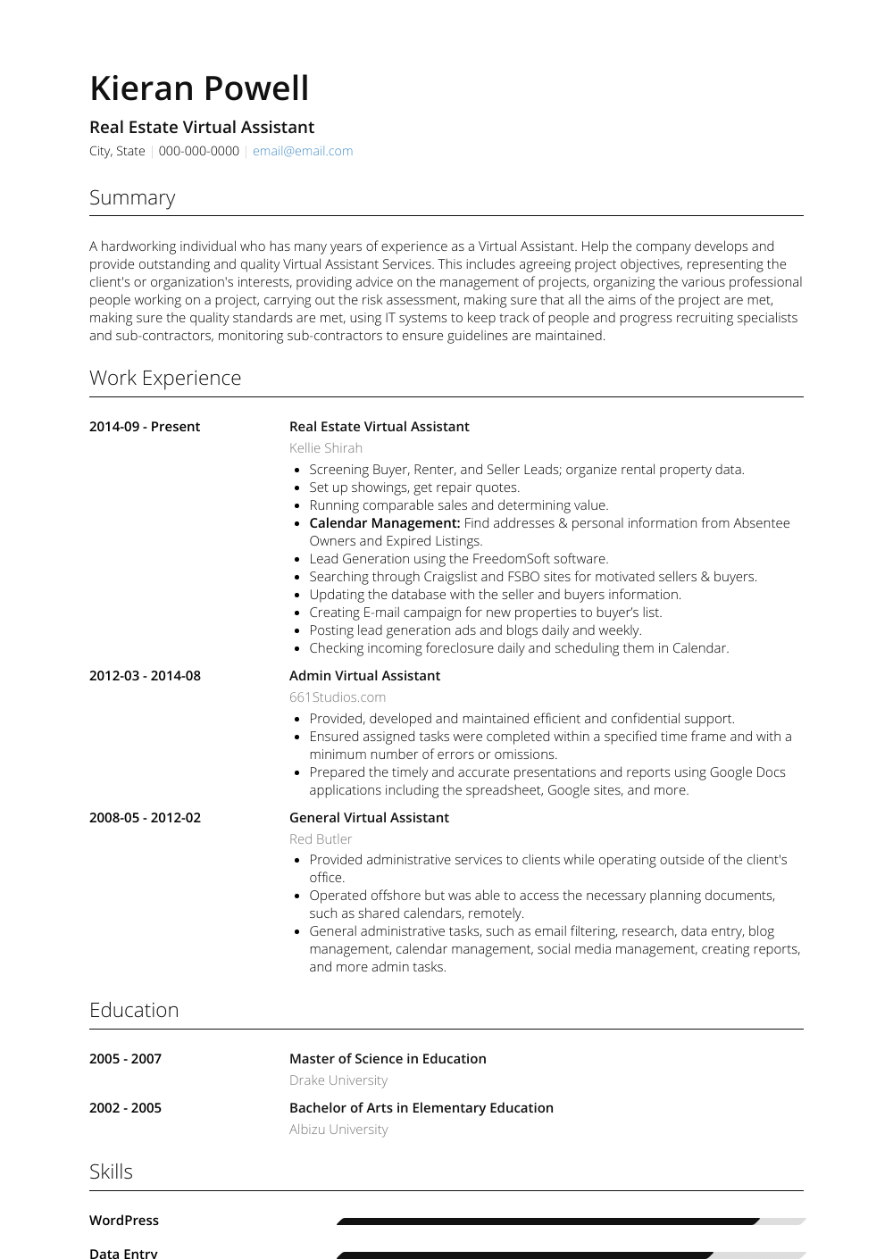 sample resume for virtual assistant with no experience