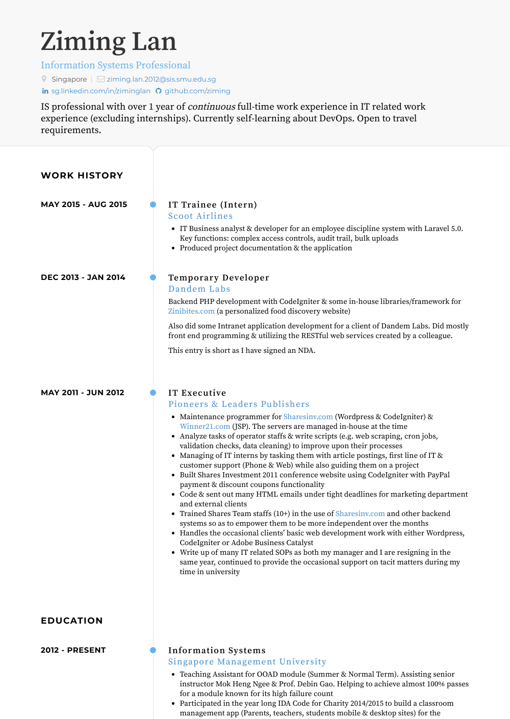 sample experience section of resume