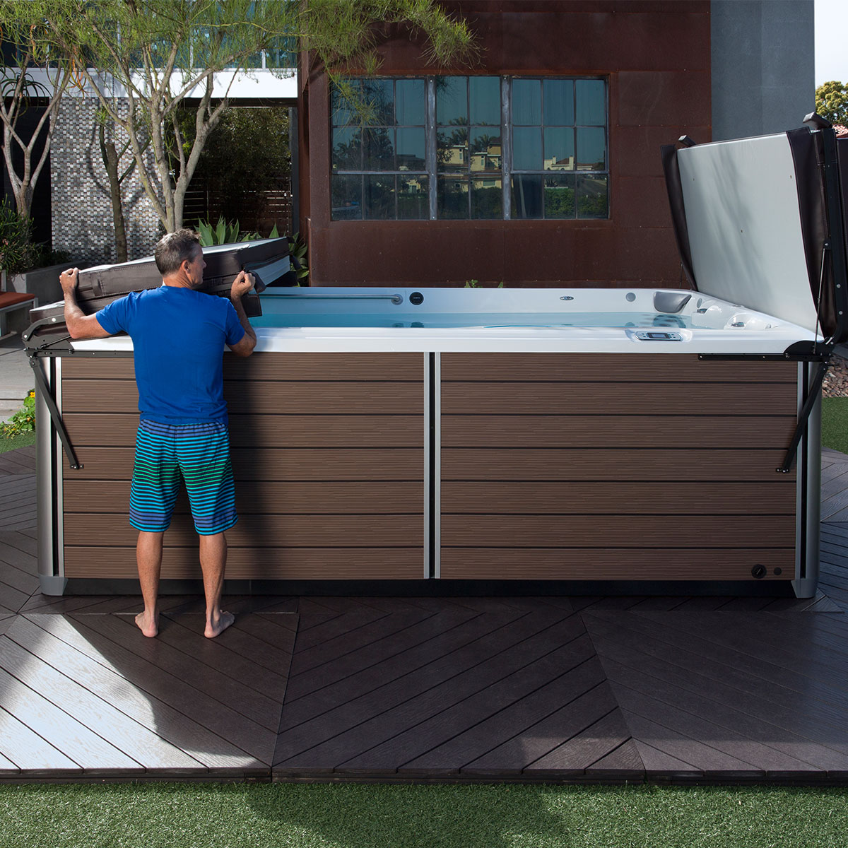 Jacuzzi Endless Pool Watkins Cover Lifter Arizona Hot Tub Company Hot Tubs
