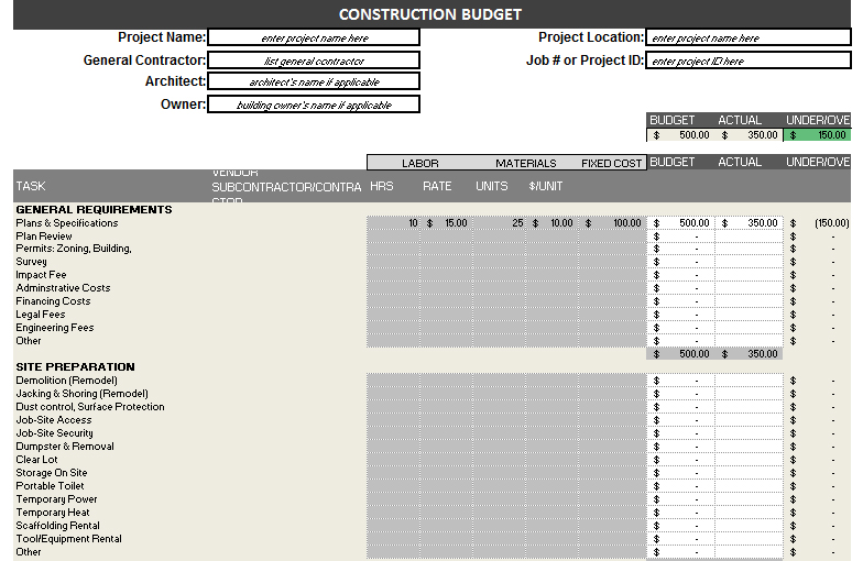 Construction Budget Template \u2013 Free, Detailed Budget Template for