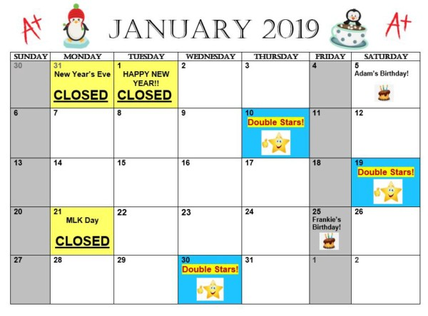 January 2019 Calendar Mathnasium