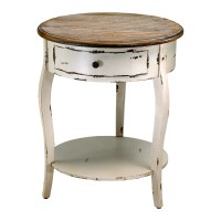 Wood Round Accent Side Table French Country Distressed ...
