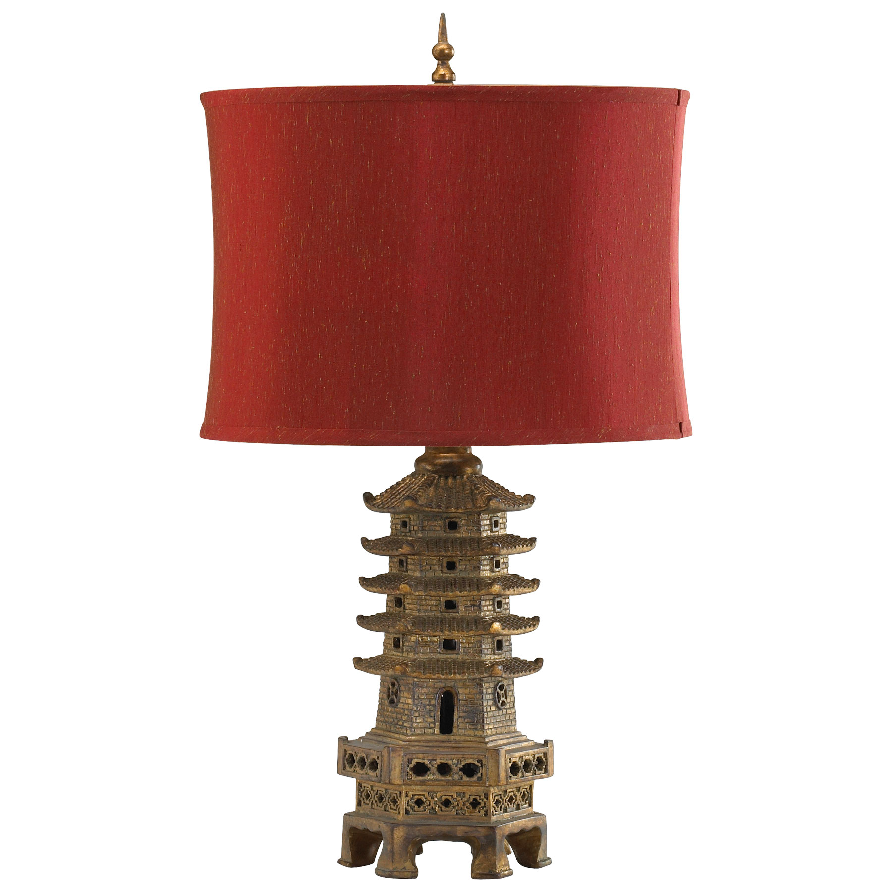 Asian Table Lamp Details About Pagoda Table Lamp Aged Asian Gold Finish Oriental Light