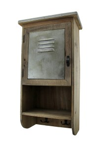 Rustic Reclaimed Wood Wall Cabinet w/Shelf and Hooks 20 in ...