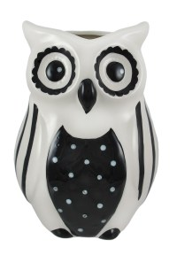Black and White Ceramic Owl Vase
