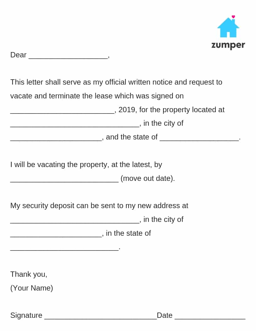 letters of notice to landlords