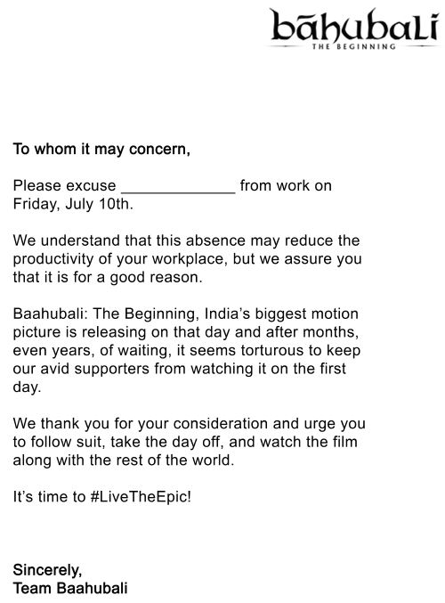 Makers of \u0027Baahubali\u0027 issue leave letters for movie lovers - leave letter