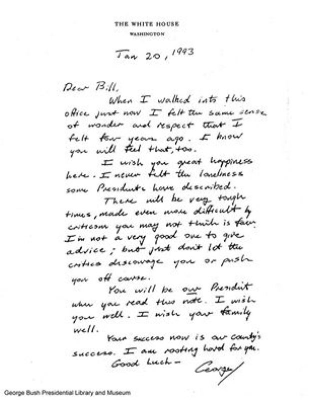 You must read the handover note George HW Bush sent to Bill Clinton - handover note