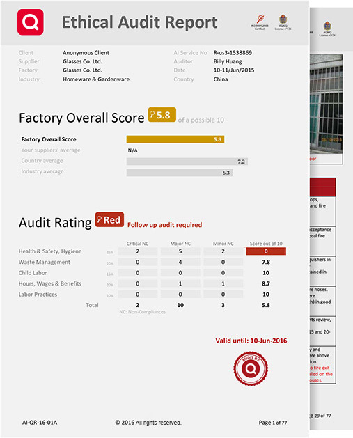 Ethical Audit Sample Report AsiaInspection - auditing report format