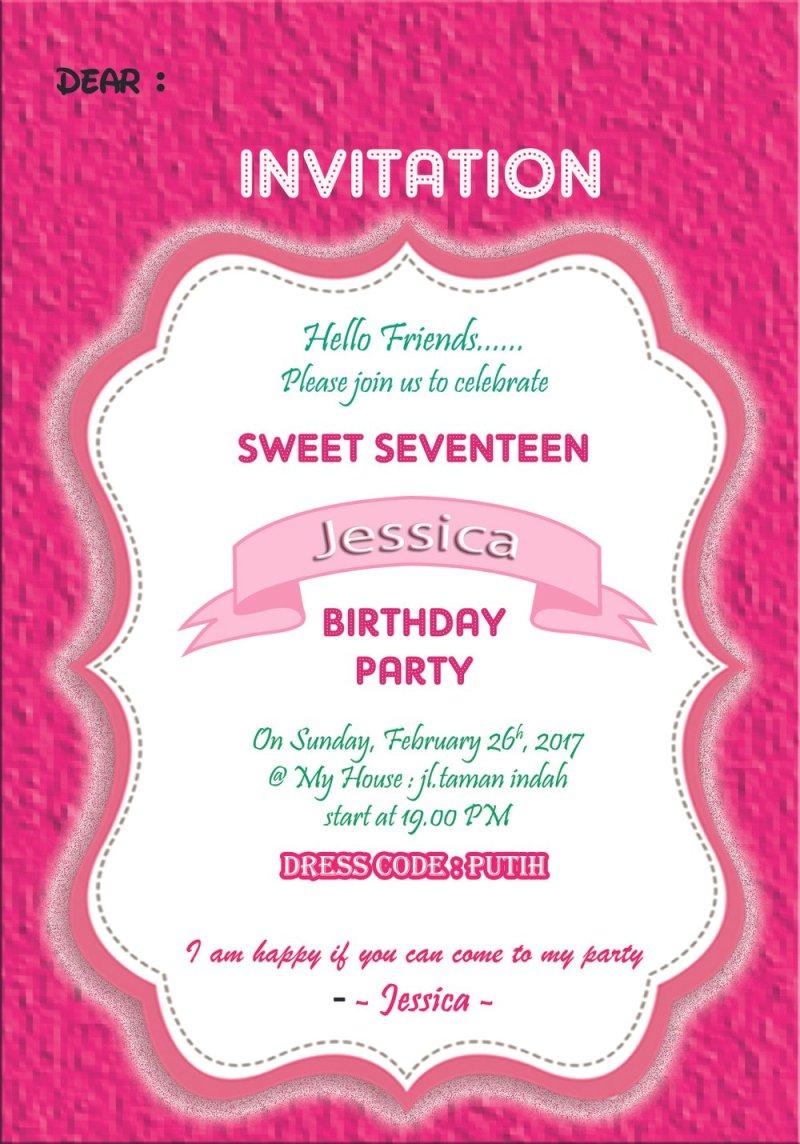 Invitation card birthday party sweet seventeen invitationswedd jual kartu undangan ulang tahun invitation card sweet seventeen stopboris Gallery