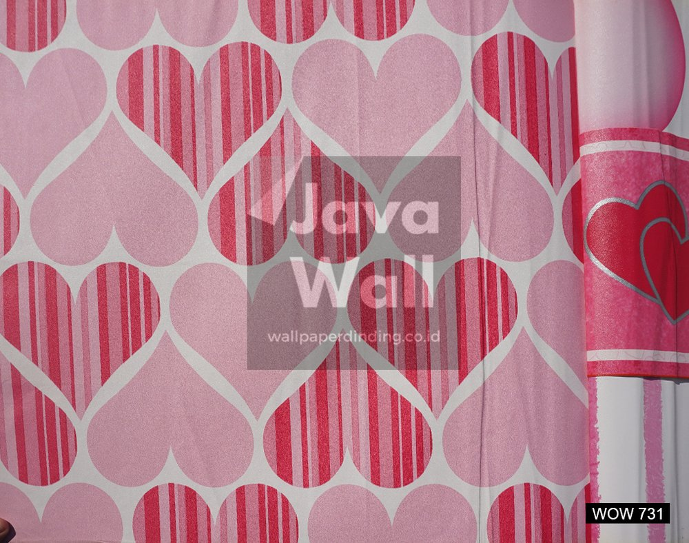 Motif Wallpaper Kamar Wallpaper Dinding Kamar Anak Wow 731 Motif Love Warna Pink Putih