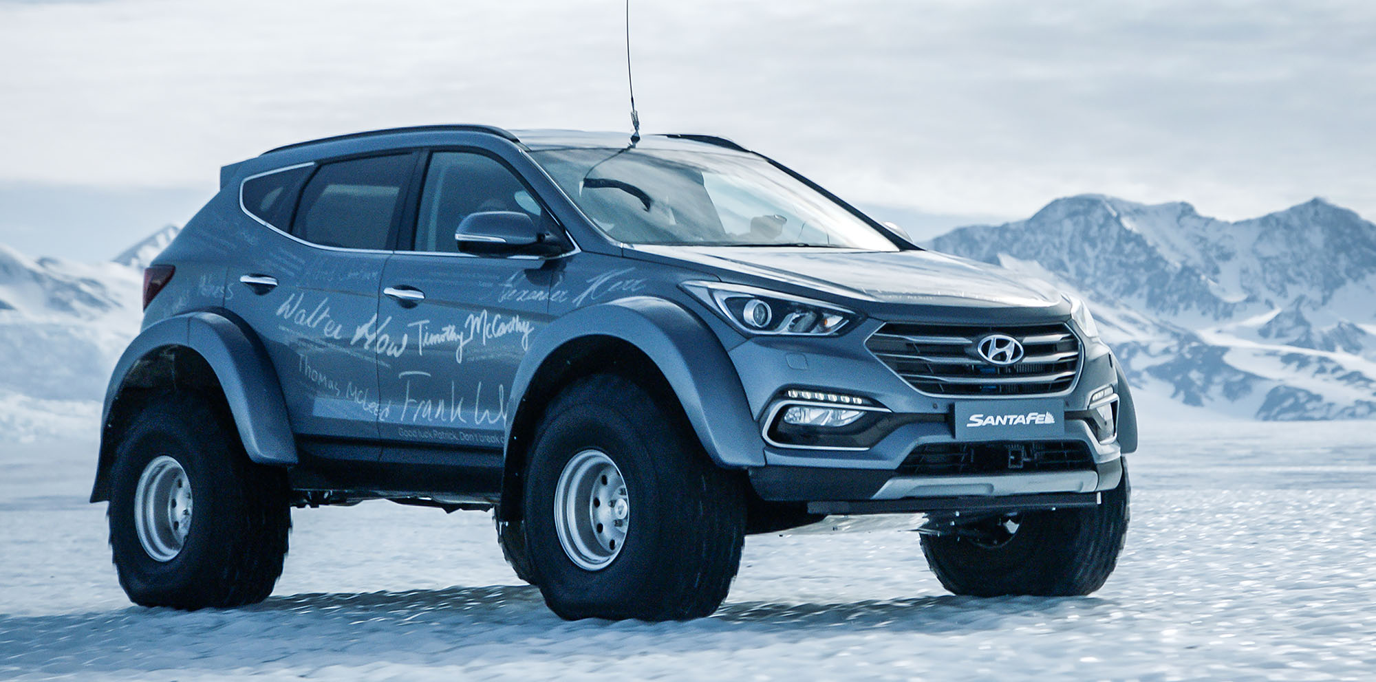 Hyundai Santa Fee Modified Hyundai Santa Fe Becomes First Car To Cross