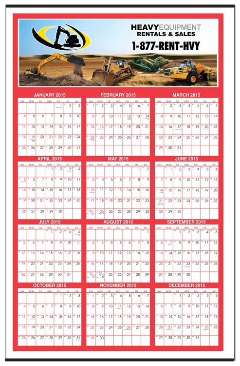 Gigantic FULL COLOR Year At A Glance Single Sheet Wall Poster
