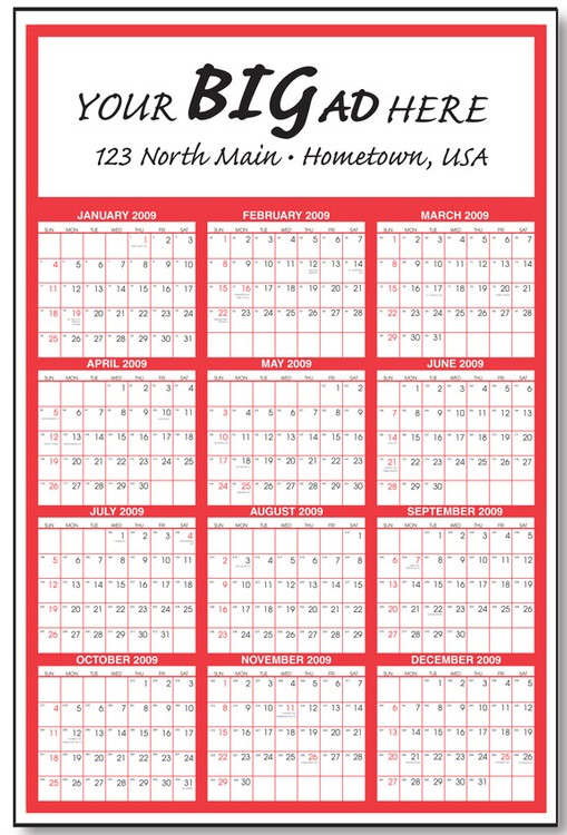 Gigantic Year At A Glance Commercial Wall Calendar (One Color) (27