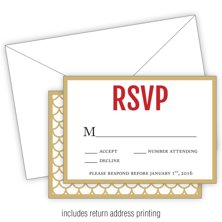 Wedding RSVP Card Flat with Printed Envelopes - 35x5 - 5204010