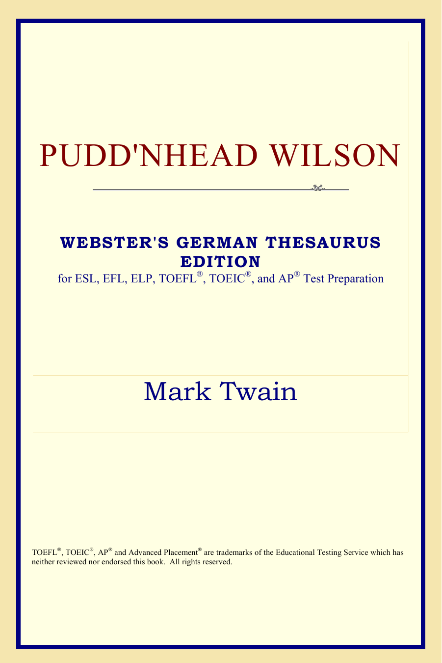 Valet De Chambre Pudd'nhead Wilson Mark Twain Puddnhead Wilson Websters German Thesaurus Edition
