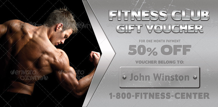 Fitness Club Voucher Template 05 by 21min GraphicRiver