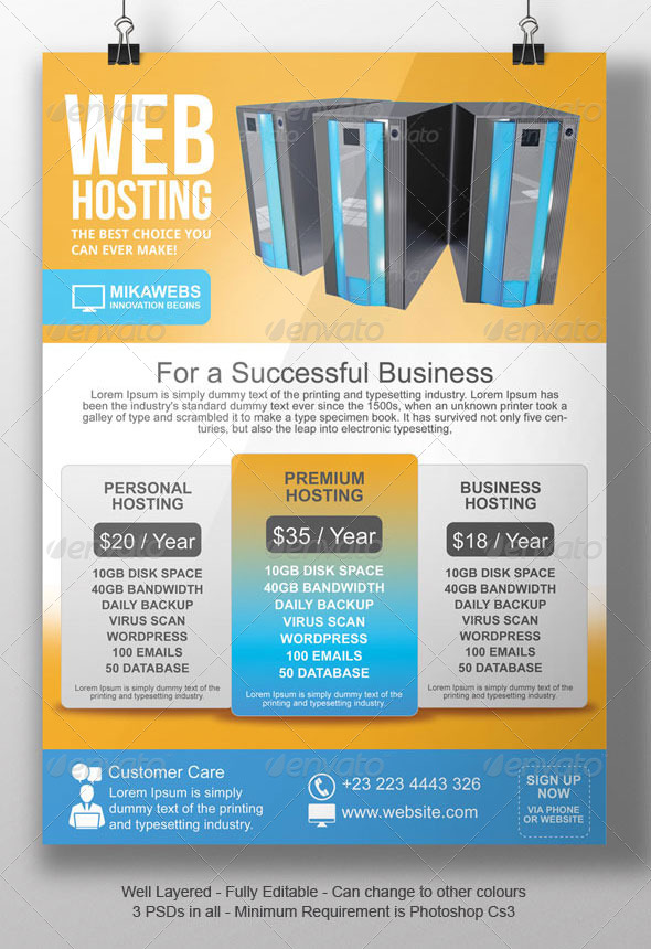 Web Hosting Flyer Template by BloganKids GraphicRiver - web flyer