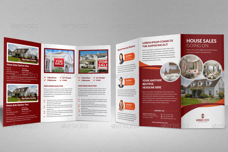 Property Sale Trifold Brochure Template by JanySultana GraphicRiver - home for sale brochure